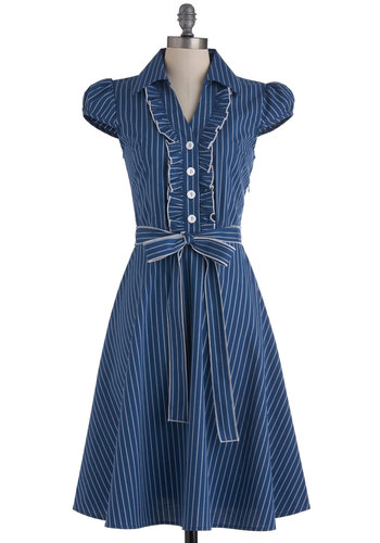 About the Artist Dress in Blue Stripe - Blue, White, Stripes, Buttons, Ruffles, Casual, Vintage Inspired, Cap Sleeves, Shirt Dress, Belted, Fall, Work, Long