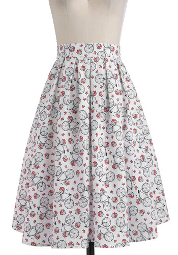 Wheel Meet Again Skirt - White, Green, Pink, Black, A-line, Long, Casual, Spring, Quirky, High Waist, Cotton, Fit & Flare