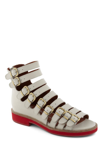 Strap to It Sandal by Jeffrey Campbell - White, Red, Buckles, Casual, Urban, Low, Leather, Summer