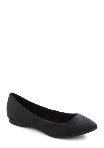 Pointing the Way Flats in Black - Black, Solid, Flat, Work, Casual