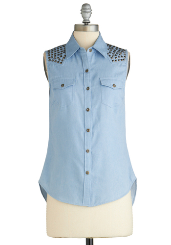 Sample 2025 - Blue, Solid, Buttons, Pockets, Studs, Sleeveless