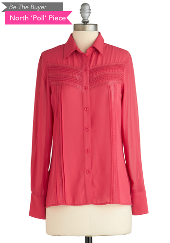 BTB L/S PLEAT FRONT BUTTON DOW in Fuchsia - Pink, Solid, Buttons, Long Sleeve
