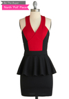 BTB PEPLUM COLOR BLOCK DRESS in Black/Red