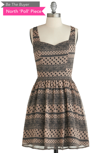 BTB PRINTED DRESS W/ MESH HEAR in Taupe - Tan, Black, Polka Dots, Lace, Party, A-line, Sleeveless, Lace