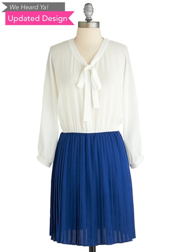 Sample 2046 - Blue, White, Buttons, Pleats, Twofer, Long Sleeve, Tie Neck