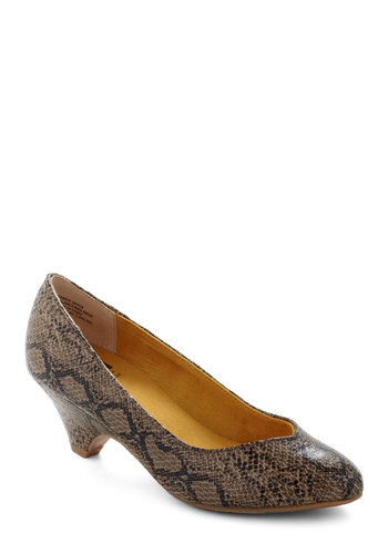 Stand in Awe Heel in Serpentine by BC Shoes - Brown, Black, Animal Print, Work, Safari, Mid