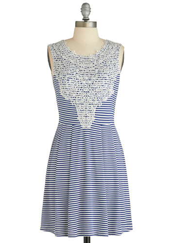 Notebook Doodles Dress - Mid-length, Blue, White, Stripes, Sleeveless, Spring, Crochet, Pleats, Casual, Sheath / Shift, Tis the Season Sale