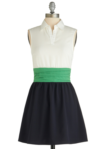 Window Herb Garden Dress - Mid-length, Green, White, Sleeveless, Spring, Blue, Casual, A-line, Collared, Fit & Flare