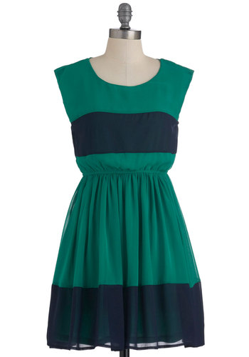 Bocce Court Dress - Short, Green, Blue, Party, A-line, Sleeveless