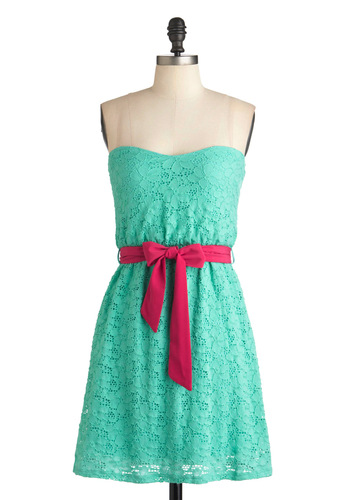 Sherbet Stand Dress - Green, Summer, Belted, Party, A-line, Strapless, Mid-length