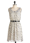 Fine Feathered Finches Dress - Black, Print with Animals, A-line, Sleeveless, Belted, Mid-length, Cream, Party, Collared