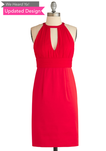 Sample 2034 - Red, Solid, Backless, Cutout, Party, Shift, Sleeveless, Cocktail