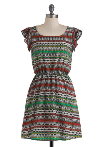 Whatever You Mosaic Dress - Multi, Red, Green, Black, Grey, Print, A-line, Cap Sleeves, Fall, Mid-length, Casual, Folk Art, Tis the Season Sale