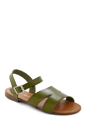 Sunset Queendom Sandal in Field - Green, Solid, Casual, Boho, Safari, Summer, Leather, Flat, Beach/Resort