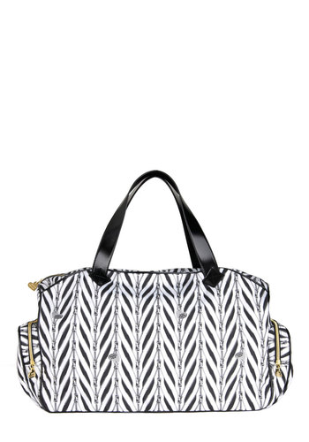 Betsey Johnson Round Zip Ticket Weekender Bag by Betsey Johnson - Black, White, Urban, Travel, Tis the Season Sale