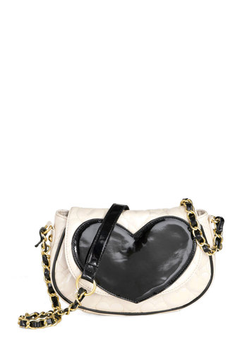Betsey Johnson Love to Shop Bag by Betsey Johnson - Cream, Black, Chain, Quilted, Casual, Film Noir, Girls Night Out, Cocktail, Daytime Party