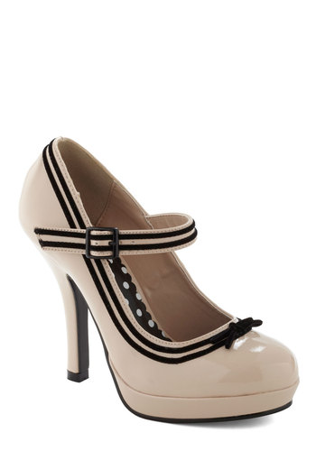 Patent Trending Heel in Ivory - Cream, Black, Bows, Trim, Work, Pinup, Vintage Inspired, 50s, Cocktail