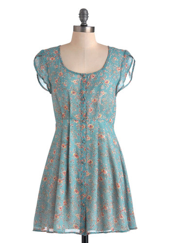 A Tome of Your Own Dress by Mink Pink - Short, Blue, Multi, Floral, Buttons, Casual, A-line, Cap Sleeves, Spring