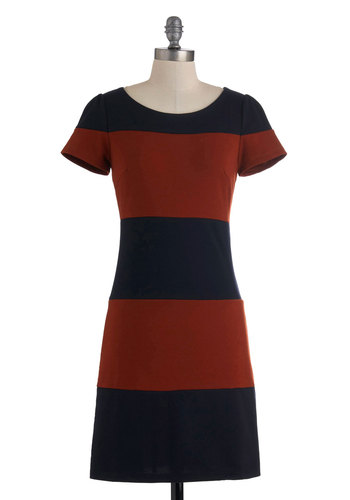 Navy I'm Amazed Dress - Mid-length, Red, Blue, Stripes, Casual, Sheath / Shift, Short Sleeves, Fall, Work