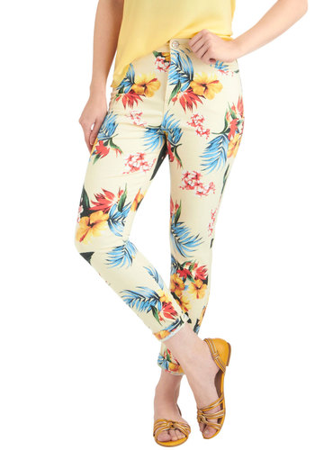 This Land is Island Jeans by Motel - Yellow, Multi, Multi, Floral, Casual, Summer, Mid-length, Cropped, Denim
