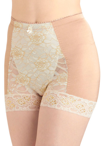 Bold Hollywood Undies in Gilded Macchiato - Tan, White, Solid, Bows, Lace, Pinup, Vintage Inspired, Gold, Sheer, Variation, Pastel, 50s