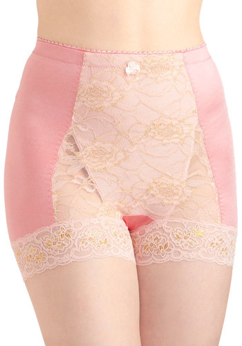 Bold Hollywood Undies in Gilded Pink - Pink, White, Bows, Lace, Gold, Solid, Pinup, Vintage Inspired, Sheer, Variation, Pastel, 50s