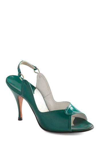 Vintage Reserve Dina Heel - Green, Solid, Formal, Party, Pinup, Vintage Inspired, 60s, Cocktail