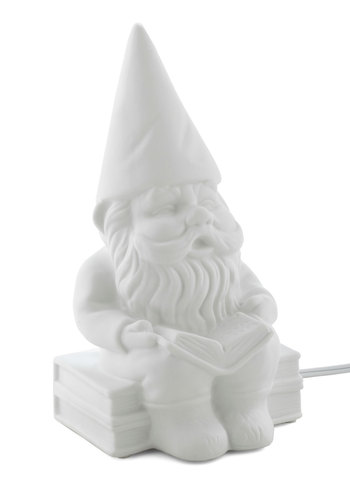 Welcome Gnome Porcelain Lamp by Streamline - White, Dorm Decor, Quirky, Solid, Fairytale