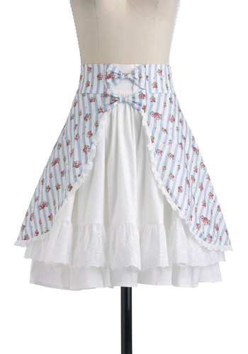 Primrose Picnic Skirt - Mid-length, Blue, Pink, Stripes, Bows, A-line, White, Floral, Eyelet, Ruffles, Summer, Spring, High Waist, Cotton, Daytime Party