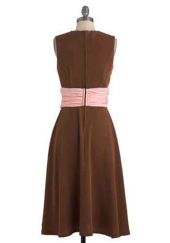 Forever Endeavor Dress - Long, Brown, Pink, Bows, Wedding, Party, Empire, Sleeveless, Vintage Inspired, Pastel, Cocktail, Sweetheart