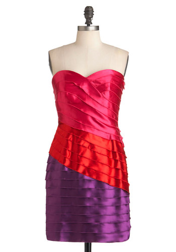 Shine Curve Dress by Max and Cleo - Multi, Red, Purple, Pink, Pleats, Party, Mini, Strapless, Summer, Colorblocking, Mid-length, Satin, Sweetheart, Prom