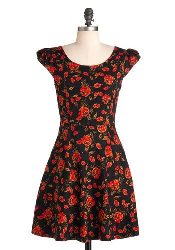 Before the Backdrop Dress by Louche - Red, Floral, Cutout, Pockets, Party, A-line, Cap Sleeves, Yellow, Black, Cocktail, Cotton, Mid-length, International Designer