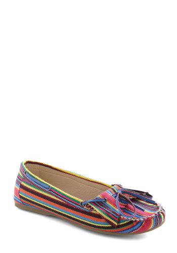 Toes of the Trade Flat - Multi, Stripes, Fringed, Casual, Boho, 70s, Multi, Vintage Inspired, Flat