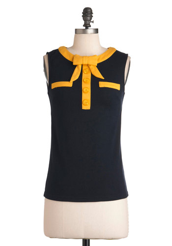 The Top Next Door - Blue, Yellow, Bows, Buttons, Casual, Sleeveless, Work, Menswear Inspired, 60s, Mod