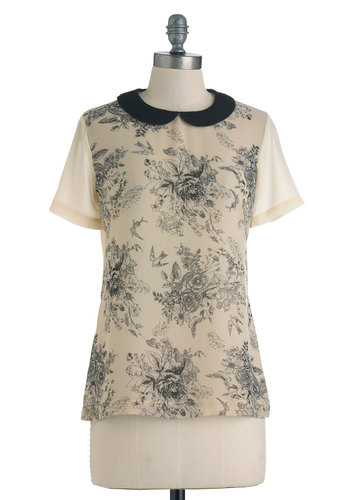Flutter While You Work Blouse - Mid-length, Cream, Black, Floral, Peter Pan Collar, Casual, Short Sleeves, French / Victorian, Steampunk, Sheer, Collared