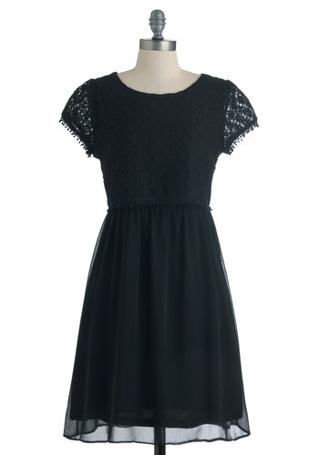Texture the One Dress - Black, Lace, Party, A-line, Mid-length, Solid, Cap Sleeves, Exposed zipper, Tis the Season Sale