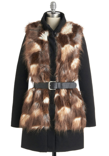 Urbanite and Day Coat by BB Dakota - Long, Brown, Black, White, Casual, Long Sleeve, Belted, Winter, 3, Rustic, Faux Fur