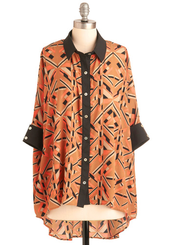Exhibit Your Style Top - Orange, Black, Buttons, 3/4 Sleeve, Print, Casual, 80s, Statement, Fall, Button Down, Collared