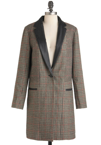 Natural Sophisticate Coat by BB Dakota - Long, Multi, Red, Tan / Cream, Black, Houndstooth, Buttons, Pockets, Long Sleeve, Work, Menswear Inspired, Fall, 3, Scholastic/Collegiate