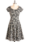 On the Job Dress in Black Blossoms - Long, Black, Grey, Floral, Party, A-line, Short Sleeves, Work, Vintage Inspired, Cotton, Fit & Flare
