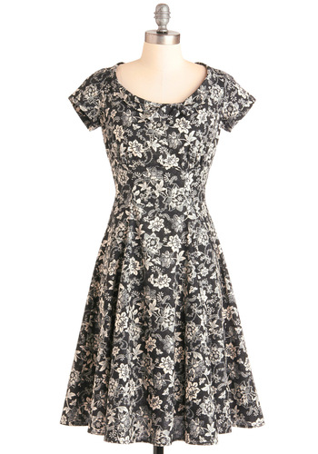 On the Job Dress in Black Blossoms
