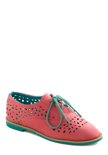 Stand Out and Smile Flat in Coral - Orange, Pink, Blue, Cutout, Casual, Urban, Colorblocking, Faux Leather, Lace Up, Flat, Menswear Inspired