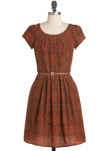 Master Printmaker Dress - Mid-length, Orange, Red, Black, Print, Pleats, Pockets, Casual, A-line, Short Sleeves, Belted, Folk Art