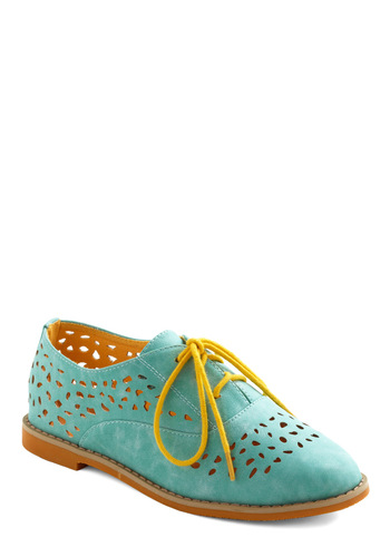 Stand Out and Smile Flat in Mint - Green, Blue, Yellow, Cutout, Casual, Urban, Colorblocking, Menswear Inspired, Flat