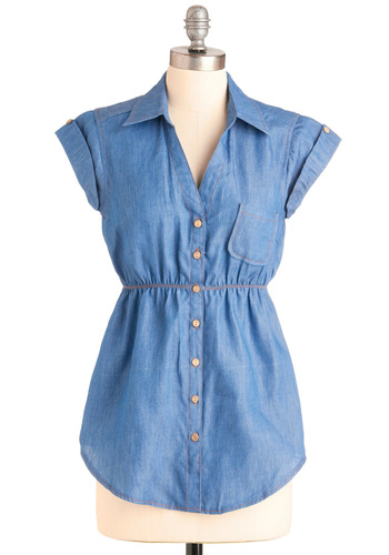Sidewalk Sale Hostess Top - Blue, Solid, Buttons, Pockets, Casual, Short Sleeves, Safari, Menswear Inspired, Cotton, Button Down