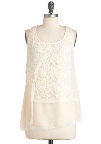 Vanilla Abstract Top - Mid-length, White, Lace, Party, Casual, Sleeveless, Spring, Sheer, Scoop
