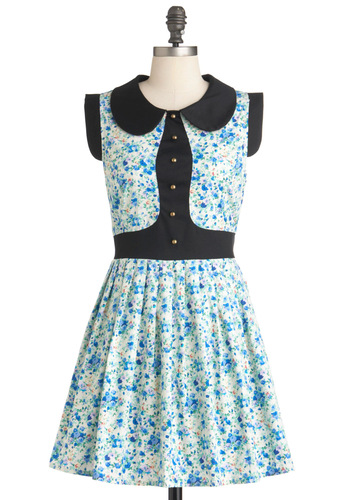 At Garden's Edge Dress - Cotton, Collared, Fit & Flare