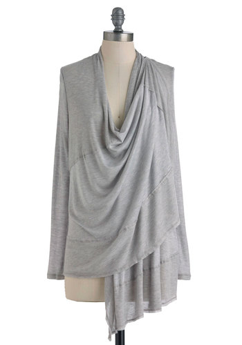 Carefree as a Bird Cardigan - Grey, Solid, Casual, Long Sleeve, Fall, Mid-length