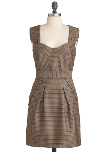 Feature Article Dress - Mid-length, Brown, Print, Exposed zipper, Pleats, Pockets, Work, Shift, Sleeveless, Fall, Menswear Inspired, Scholastic/Collegiate, Sweetheart