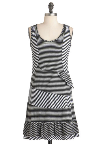 Off to Collage Dress - Black, Stripes, Ruffles, Casual, Shift, Tank top (2 thick straps), Summer, Mid-length, White, Tis the Season Sale